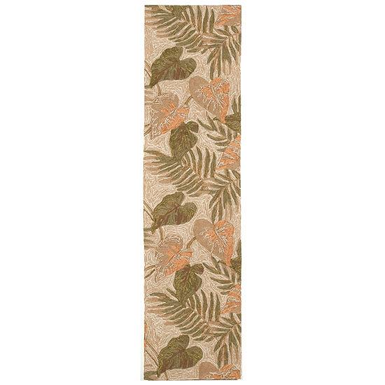 Liora Manne Ravella Tropical Leaf Hand Tufted Rectangular Indoor/Outdoor Runner