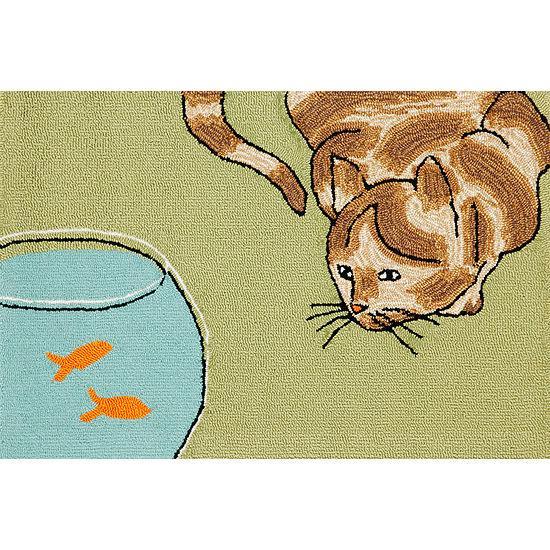 Liora Manne Frontporch Curious Cat Hand Tufted Rectangular Indoor/Outdoor Rugs