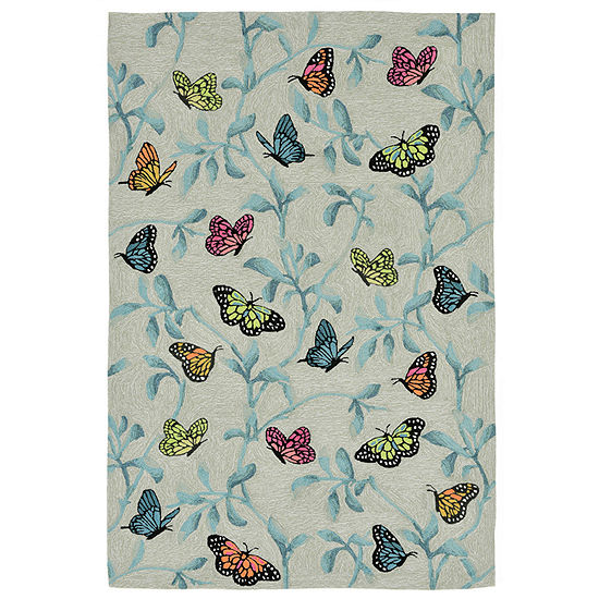 Liora Manne Ravella Butterflies On Tree Hand Tufted Rectangular Indoor Outdoor Rugs