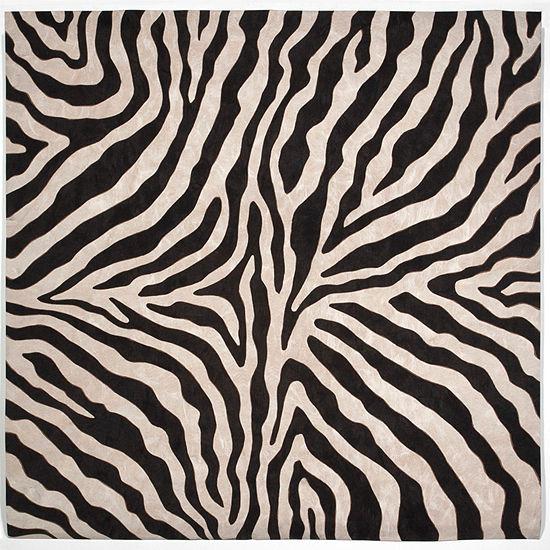 Liora Manne Visions I Zebra Square Indoor/Outdoor Rugs