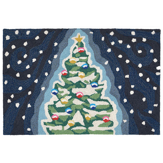 Liora Manne Frontporch Xmas Tree Hand Tufted Rectangular Indoor Outdoor Rugs