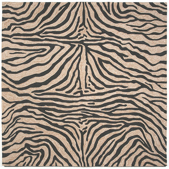 Liora Manne Ravella Zebra Hand Tufted Square Indoor/Outdoor Rugs