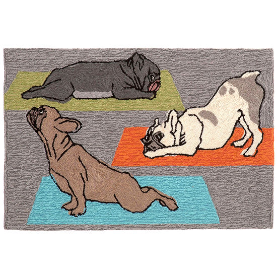 Liora Manne Frontporch Yoga Dogs Hand Tufted Rectangular Indoor/Outdoor Rugs