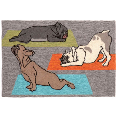 Liora Manne Frontporch Yoga Dogs Hand Tufted Rectangular Rugs
