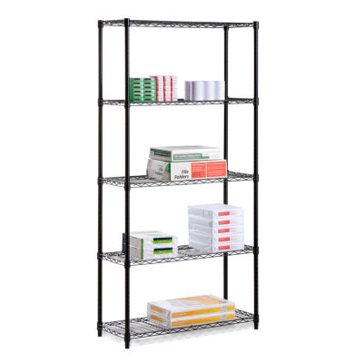 "Honey-Can-Do 5-Tier Black Storage Shelves 18X36X72"" - 350 Lbs"""