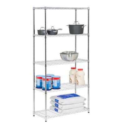 """Honey-Can-Do 5-Tier Chrome Storage Shelves 18X36X72"""" - 350 Lbs"""""""