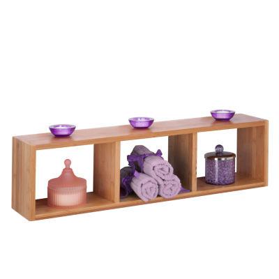 Honey-Can-Do Bamboo Triple Cube Wall Shelf