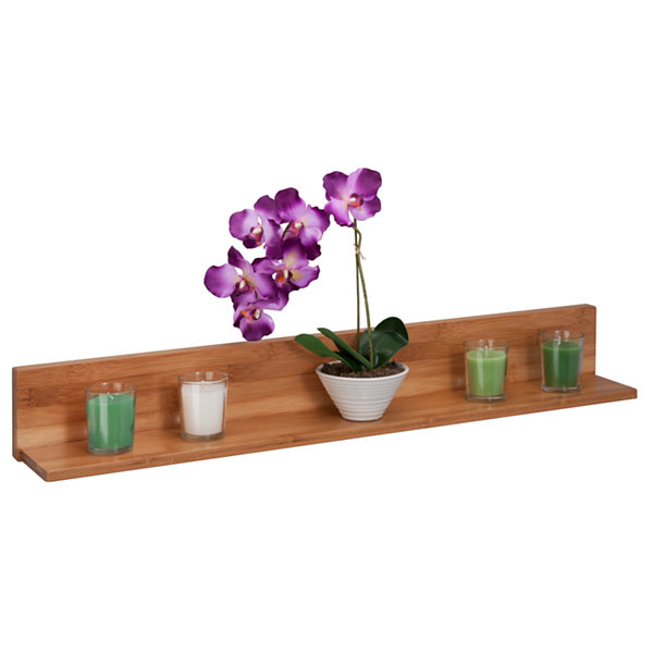 Honey-Can-Do Bamboo L Shaped Wall Shelf