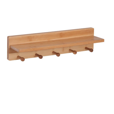 Honey-Can-Do Bamboo Wall Shelf With 5 Pegs