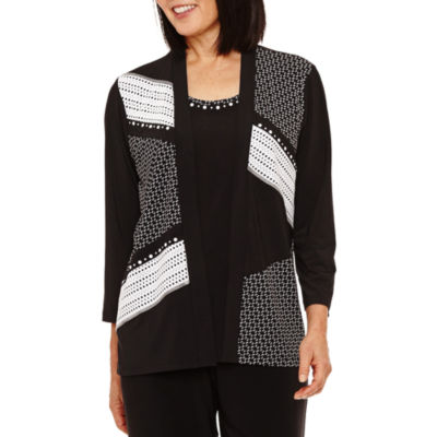 Alfred Dunner Saratoga Springs 3/4 Sleeve Colorblock Layered Top