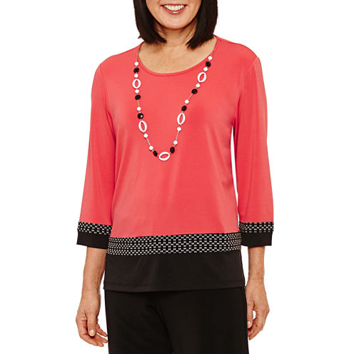 Alfred Dunner Saratoga Springs 3/4 Sleeve Top