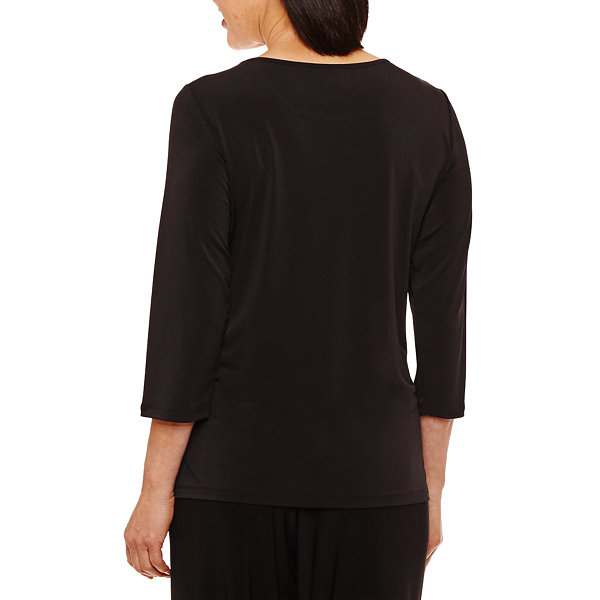 Alfred Dunner Saratoga Springs 3/4 Sleeve Crew Neck T-Shirt-Womens