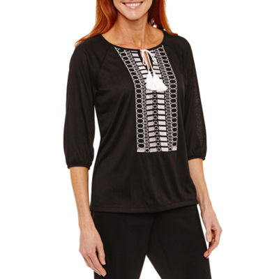 Sag Harbor Fiesta Embroidered 3/4 Sleeve Peasant Top