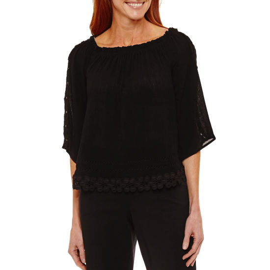 Sag Harbor Fiesta Elbow Sleeve Off Shoulder Sleeve Peasant Top