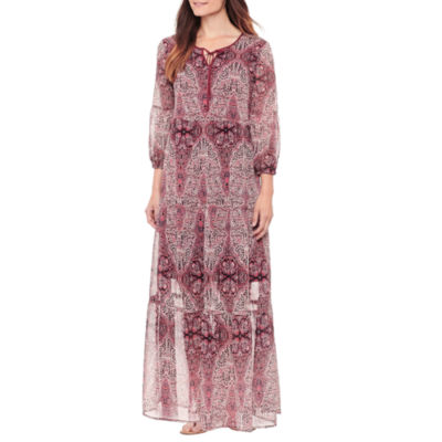 St. John's Bay Long Sleeve Paisley Maxi Dress