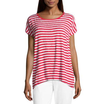 Liz Claiborne Short Sleeve Crew Neck Stripe T-Shirt-Womens