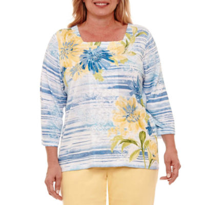 Alfred Dunner Blue Lagoon Square Neck Lace Print T-Shirt- Plus
