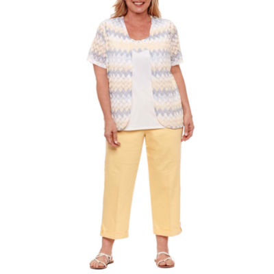 Alfred Dunner Blue Lagoon Crochet Layered Top- Plus