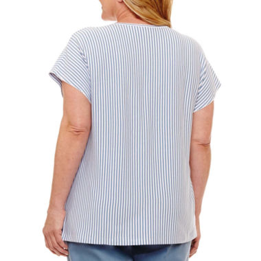 Alfred Dunner Blue Lagoon Square Neck Stripe T-Shirt- Plus