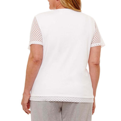 Alfred Dunner Long Weekend Lace Stitch Border T-Shirt-Womens Plus