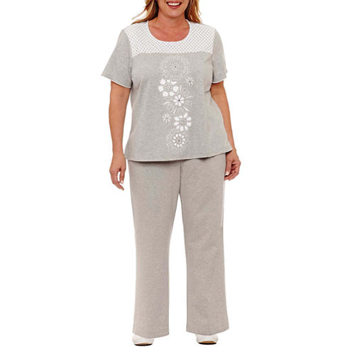 Alfred Dunner Long Weekend Lace Center Embroidery T-Shirt- Plus