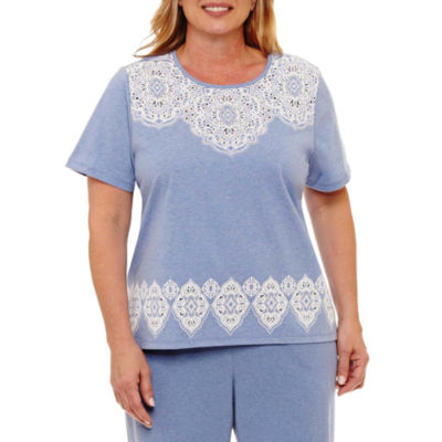 Alfred Dunner Long Weekend Lace Top Border T-Shirt- Plus