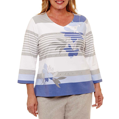 Alfred Dunner Long Weekend Stripe Floral T-Shirt-Womens Plus