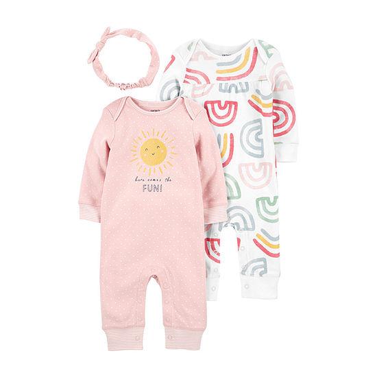 Carter's Little Baby Basics Baby Girls Long Sleeve 3-pc. Jumpsuit