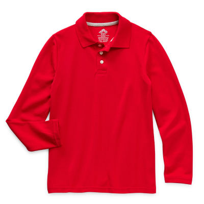 Thereabouts Pique Little & Big Boys Long Sleeve Moisture Wicking Polo Shirt