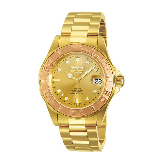 Invicta Pro Diver Mens Automatic Gold Tone Stainless Steel Bracelet Watch 13930