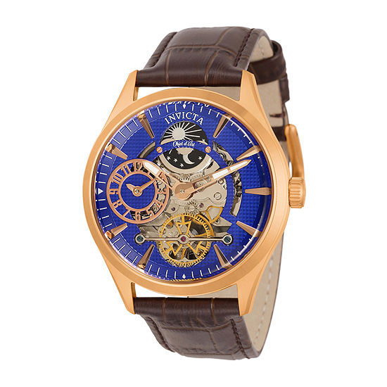 Invicta Objet D Art Mens Automatic Brown Leather Strap Watch 30445