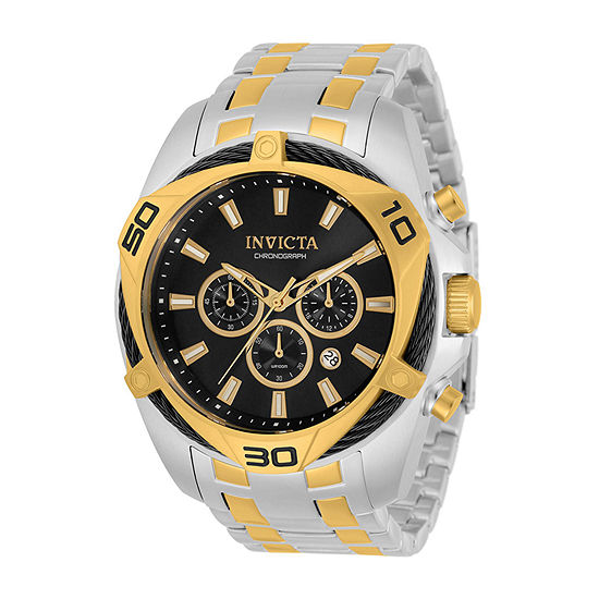 Invicta Bolt Mens Chronograph Gold Tone Stainless Steel Bracelet Watch 34124