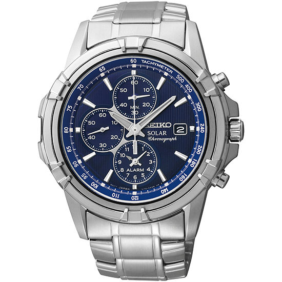 Seiko® Mens Silver-Tone Blue Dial Chronograph Watch SSC141