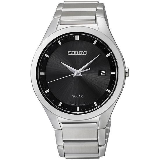 Seiko® Mens Silver-Tone Solar Watch SNE241