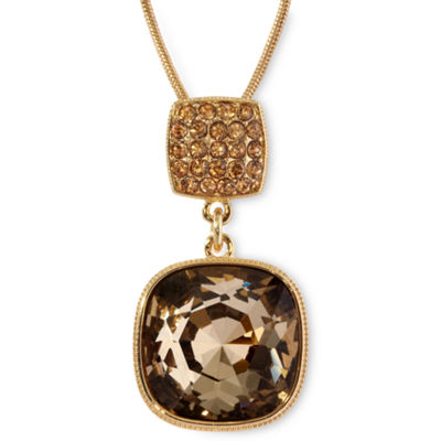 Monet® Gold-Tone Brown Stone Pendant Necklace