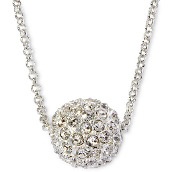 Monet® Silver-Tone Crystal Fireball Pendant Necklace