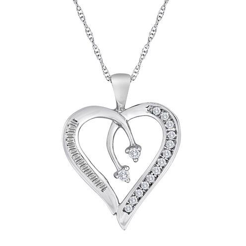 1/5 CT. T.W. Diamond 10K White Gold Heart & Arrow Pendant Necklace