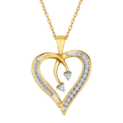 1/5 CT. T.W. Diamond 10K Yellow Gold Heart & Arrow Pendant Necklace