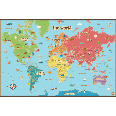 Kids World Map Dry-Erase Wall Decal