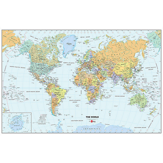 World Map Dry-Erase Wall Decal