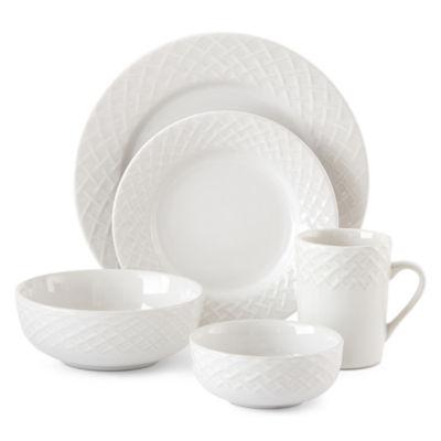 JCPenney Home™ Basketweave 40-pc. Dinnerware Set - Service for 8  sc 1 st  JCPenney & JCPenney Home Weave 40 pc Dinnerware Set