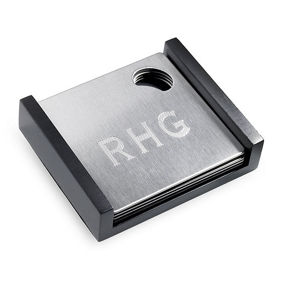 4-pc. Personalized Stainless Steel Bottle Opener Coaster Set