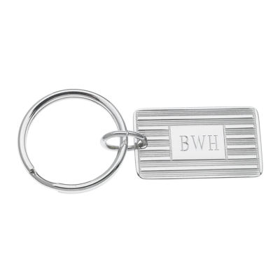 Personalized Rectangular Silvertone Key Ring