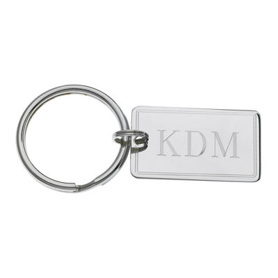Personalized Rectangular Key Ring with Double-Line Border