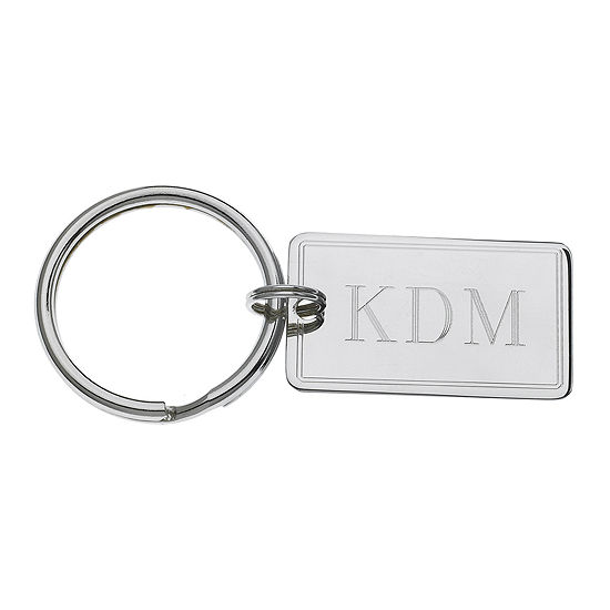 Personalized Rectangular Key Ring with Pinstripe Border