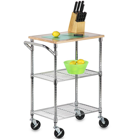 Honey-Can-Do® 2-Shelf Rolling Storage Cart with Wood Top