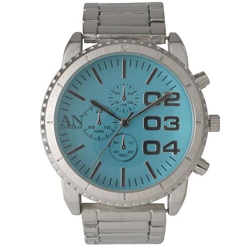Olivia Pratt Mens Aqua Dial Silver Bracelet Watch 2197Gaquasilver