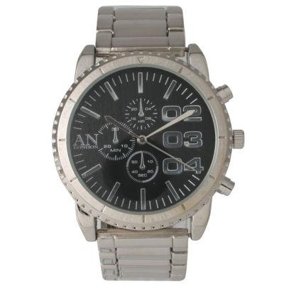 Olivia Pratt Mens Black Dial Silver-Tone Bracelet Watch 2197Gsilverblack