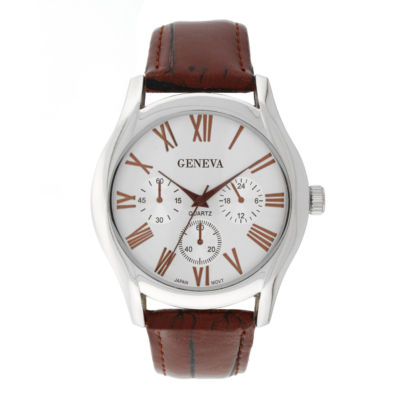 Mens Geneva Silver-Tone Black Mesh Watch 33576