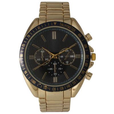 Olivia Pratt Mens Decorative Tachymeter & Chronograph Goldtone Bracelet Watch 14312Gold